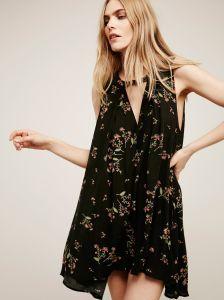 Flower Print Chiffon Tunic Beach MIDI Vintage Dress for Women pictures & photos