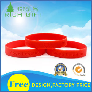 Sales Intaglio Pure Colour Environmental Silicone Bracelet for Commercial Activity pictures & photos