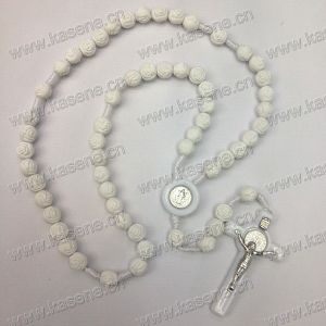 Cheap Factory Sell White Easter Cross Wooden Bead Knot Rosary Necklace