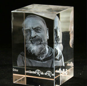 3D Laser Engraved Blank K9 Crystal Cube for Souvenir pictures & photos