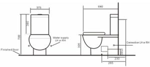 Modern Watermark Bathroom Washdown Two Piece Wall-Faced Toilet Suite (561) pictures & photos