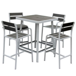 New Design Modern Leisure Coffee Bar Chair and Table Set Outdoor Garden Polywood Aluminum Furniture pictures & photos