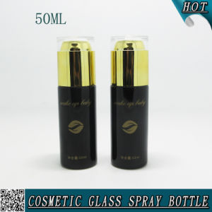 50ml Black Glass Spray Perfume Bottle with Gold Acrylic Lid pictures & photos