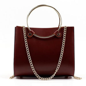 Fashion Circle Handle Women Bag Cowhide Leather Ladies Handbags Emg4784 pictures & photos