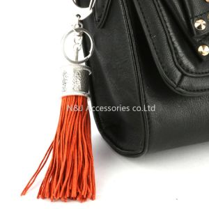 Fashion Casual Red PU Leather Tassels Women Keychain Bag Pendant Alloy Car Key Chain Ring Holder Retro Jewelry pictures & photos