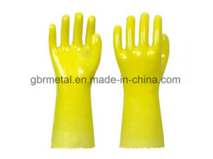 Cotton Wool PVC Coating Plastic Gloves Work Gloves pictures & photos