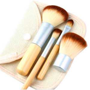4PCS Professional Natural Bamboo Handle Cosmetic Brushes pictures & photos
