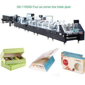Gluing Machine Cold Glue 4/6 Corner Box Folder Gluer (GK-1100GS) pictures & photos