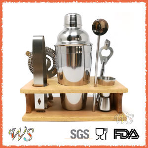 Ws-C22 Wood Tray Indoor Stainless Steel Cocktail Shaker Set pictures & photos