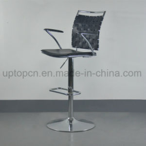 Black High Bar Stool with Chrome Steel Leg and Armrest (SP-HBC433) pictures & photos