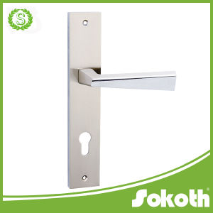 New Model Simple Zink Door Handle on The Plate pictures & photos
