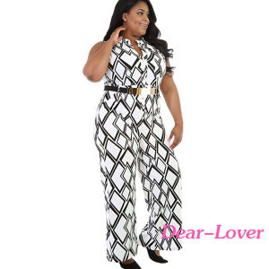 Fashion Box Print Wide Leg Black Plus Size Jumpsuit pictures & photos