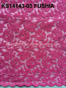 Beautiful Fushiapink Lace African Cord Lace 2015 pictures & photos