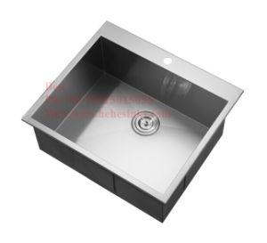 Handmade Drop in Sink, Stainless Steel Top Mount Single Bowl Handmade Kitchen Sink pictures & photos