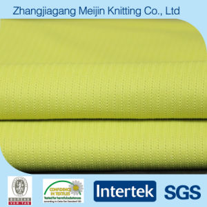 Knit Yellow Elastane Polyester Spandex Stripe Mesh Fabric (MJ5041)