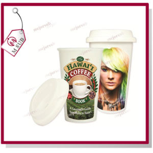 Ceramic Starbucks Tumbler with Lid for Sublimation Printing pictures & photos