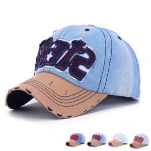 Custom Patch Embroidered Cotton Denim Baseball Caps (YKY3083) pictures & photos