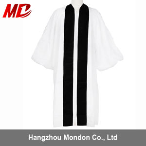 Custom Velvet Geneva Clergy Robe White/Black with Deep Cuffs pictures & photos