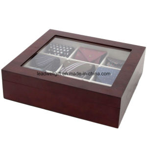 Tie Box Storage Handcrafted 9 Compartment Wood Finish