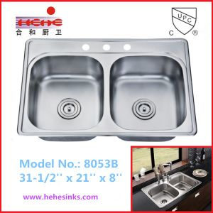 Top Mount Stainless Steel Kitchen Sink with Satin Finish (8053B) pictures & photos
