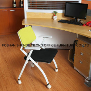 Comfortable Modern Fabric Stackable School Training Room Chair with Writing Pad pictures & photos