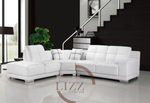 White Color Genuine Leather Corner Sofa pictures & photos