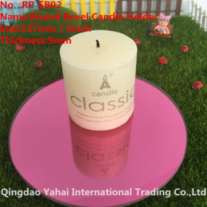 4mm Round Pink Bevel Glass Mirror Candle Holder pictures & photos