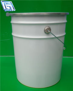White 20L Metal Pail for Paint Packing, Reliable Sealing