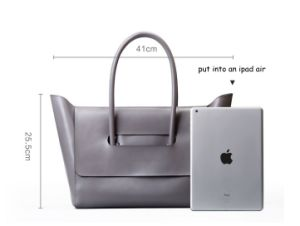 Simple Cutting Fashionable Women PU Leather Tote Bag (M0714) pictures & photos