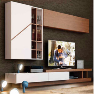 High Quality Latest with Veneer Lamination MDF Wooden TV Stand pictures & photos