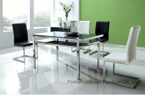 Modern Glass White Black 4 Chairs Dining Table Set pictures & photos