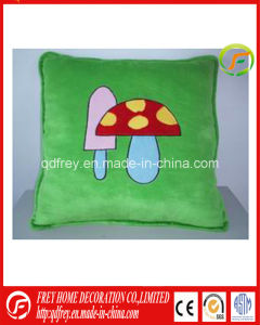 Green Plush Square Soft Cushion with Mushroom Embroidered pictures & photos