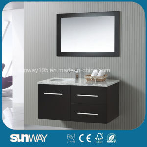 New America Style Solid Wooden Bathroom Vanity with Mirror pictures & photos