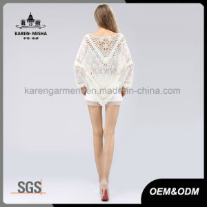 Floral Crocheted Back Lace Poncho Sweater with Fringe Hem pictures & photos