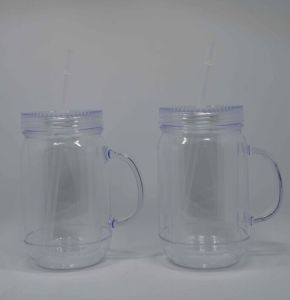 Double Wall Plastic Mason Jar Tumbler with Straw and Handle pictures & photos