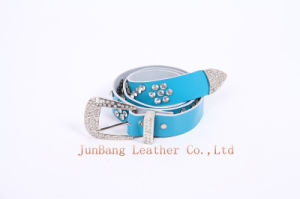 Fashionable Leather Belt with Rhinestone for Women
