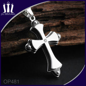 Op483 Three Heart Black Cross Pendant with Wings pictures & photos