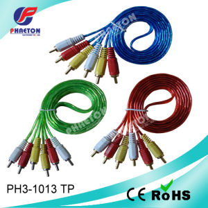 3RCA-3RCA Transparent Cable Audio Video Cable pictures & photos