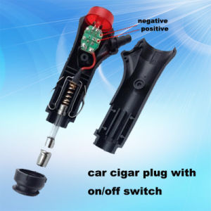 Low Price and High Sell Red Switch 12V/24V Car Cigarette Lighter Plug with Two Sockets pictures & photos