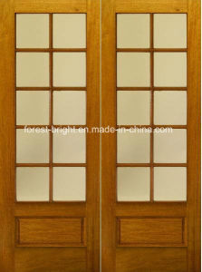 Rustic Double Wood Tempered Glass Door Design pictures & photos