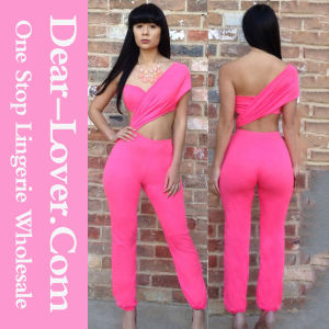 Bright Pink One-Shoulder Jumpsuit pictures & photos