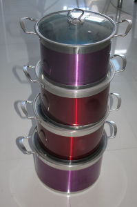 8PCS Colour Stainless Steel Cookware Set with Glass Lid pictures & photos