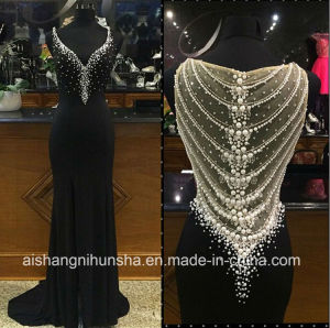 Lovemay V-Neck Beading Party Prom Gown Long Black Evening Dresses pictures & photos