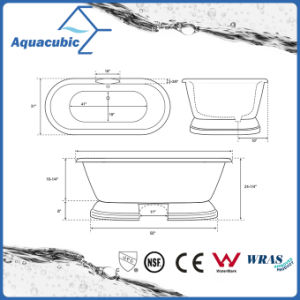 Bathroom Pure Acrylic Seamless Freestanding Bath Tub (AB6515) pictures & photos