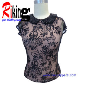 Fashion Ladies Garment Beading Lace T Shirt (RKT1368)