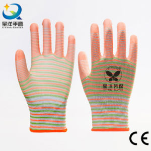 13G Zebra Polyester PU Coated Safety Gloves pictures & photos