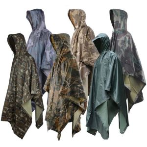 Custom Hooded Camouflage Rain Poncho Military Waterproof Mens Womens pictures & photos