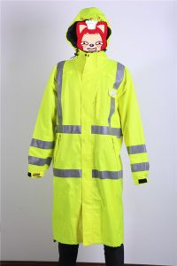 Fluorecense Yellow Polyester/PVC Raincoat for Roadway Work pictures & photos