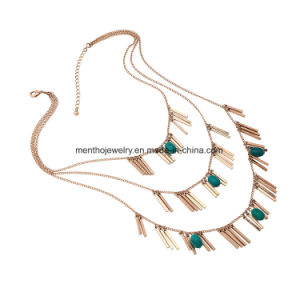 New Punk Metal Tassel Multi-Layer Detachable Long Chain Necklace Arylic Bead Pendant pictures & photos