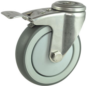Stainless Steel Rubber Caster with Lock (MC-A-100-DAG)